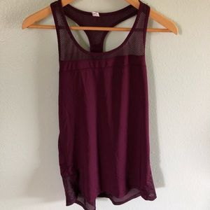 Champion maroon workout tank with mesh detail